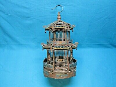 Antique Oriental Bird Cage Hand Carved Wood And Bamboo Color Washed Very Rare