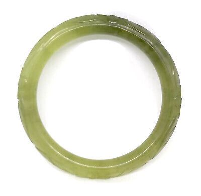 Antique Estate Carved Nephrite Jade Bangle Bracelet