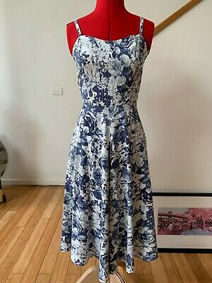 50's style vintage handmade linen rayon fit & flare dress blue white size SMALL
