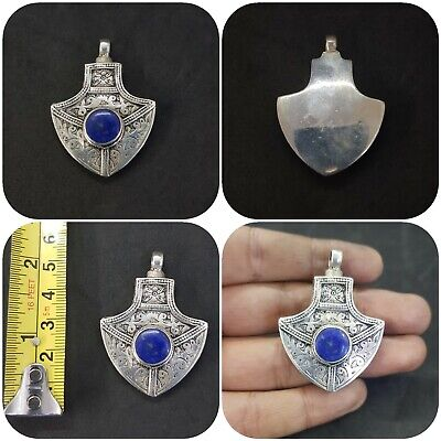 Beautiful Design Afghani silver plated pendent with lapis lazuli stone #2D