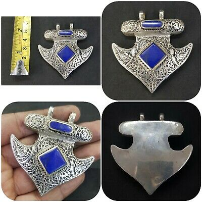 Unique Design Afghani silver plated pendent with lapis lazuli stone #2D