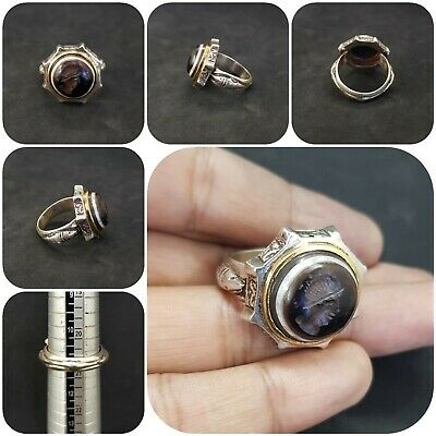 Solid silver Unique Ring with Intaglio King Banded Eye Agate stone #J1
