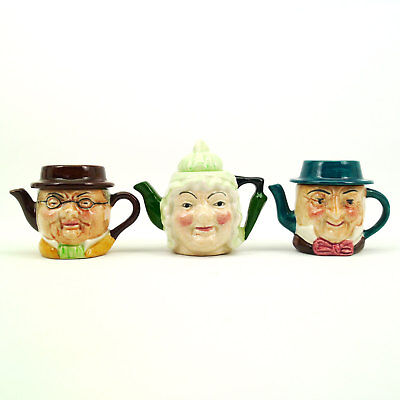 3 Vintage Artone England Double Sided Dickens Characters Mini Porcelain Teapots
