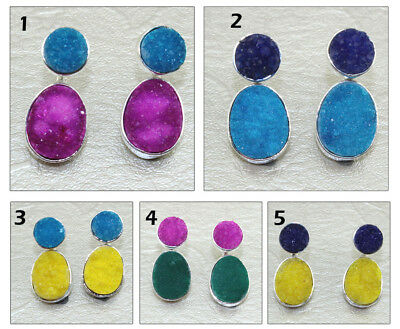 Gorgeous Natural Agate Druzy Silver Plated Stud Cum Jacket Charm Earring Jewelry