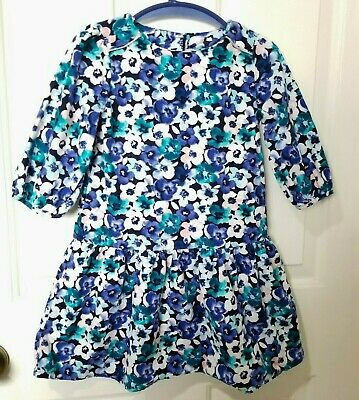 Gymboree Nwts Size 2t Butterfly Garden Blue Floral Long Sleeve Dress Soft