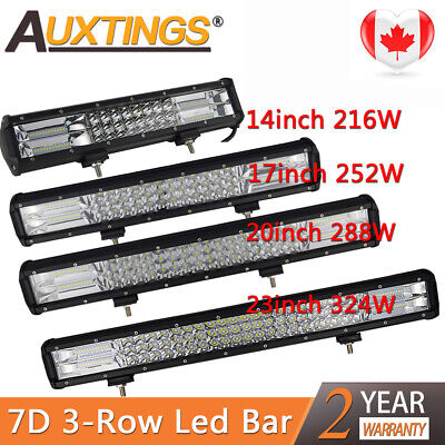 Tri-Row 14'' 17'' 20'' 23''inch Combo LED Work Light Bar for Jeep Truck Boat CA