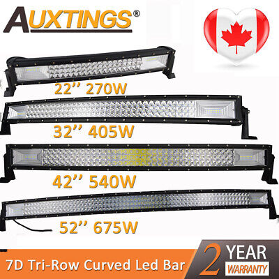 7D Tri-Row 22'' 32'' 42'' 52'' Curved LED Work Light Bar Combo for Jeep Truck CA