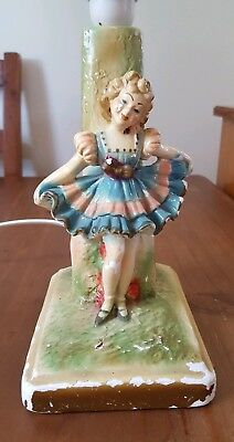 Vintage Chalkware Lady Lamp Working Condition With Shade