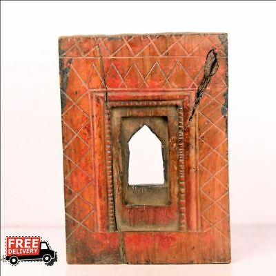 1850'S Indian Antique Hand Carved Wooden Wall Frame / Temple Set 7506