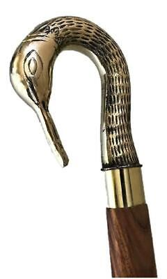 Hand Made Walking Stick Cane Solid Brass Swan Bird Head Handle Crook Handle Gift