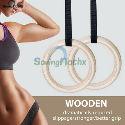 PRO.Wooden Gymnastic Olympic Rings Crossfit Gym Fitness Strength Training Strap