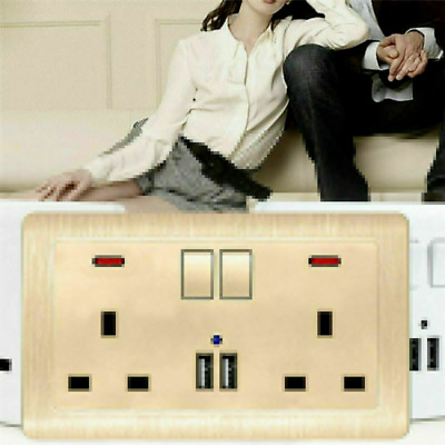 Single/Double Wall Plug Socket 2 Gang 13A with 2 USB Charger Port Outlets Plate
