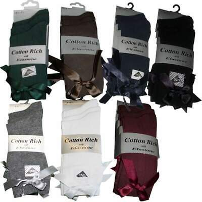 3 x Pairs Girls Dress Ankle Socks With A Bow Cotton Rich