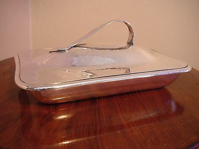 William Hutton Arts & Cafts planished silver plate entree dish and lid
