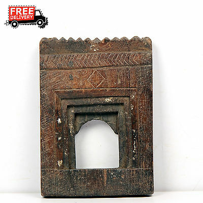 1850'S Indian Antique Hand Carved Wooden Wall Frame / Temple 7142