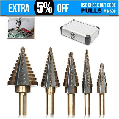 5PCS HSS Step Steel Step Cone Drill Titanium Bit Set Titanium Hole Cutter + Case