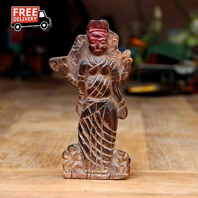 1850'S Indian Antique Fine Unique Hand Carved Wooden Hindu Goddess Statue 1974