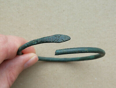 "Ancient Viking bronze bracelet tracery ""Snake"". REALLY RARE TYPE"