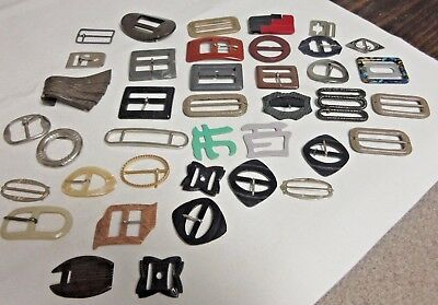 39 Vintage French Belt Buckles-Various Colors, Sizes, Shapes-France Brocante-Sew