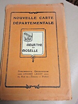 Antique French Road Map-Andre Lesot-Moselle-Meurthe-Old France-Bright Colors