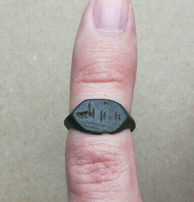 Ancient Viking Old Bronze FABULOUS STATUS Ring Runic Ornament Small Size RARE