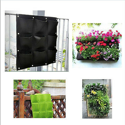 9 Pocket Planting Bag Hanging Wall Vertical Planter Hanging Flower Herb Garden