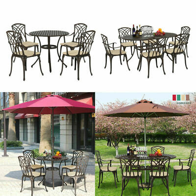 Bistro Table and Chairs Set Cast Aluminium Metal Garden Bench Patio /Parasol New