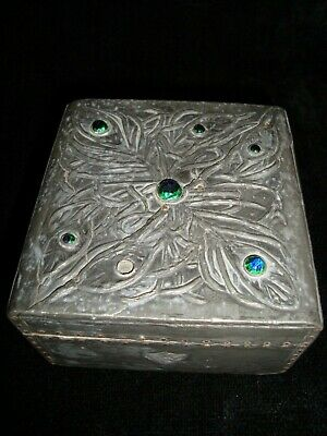 Arts & Crafts Pewter & Wood Box With Cabochons