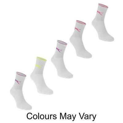 4 Pack Slazenger Crew White Sports Socks Childs C8-C13 Unisex Quality Socks