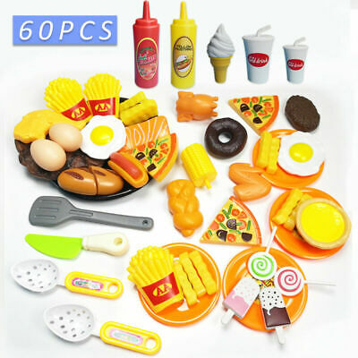 Kids Kitchen Pizza Play Food Children Role Gift Toy Sets 60pcs Pretend Cutting