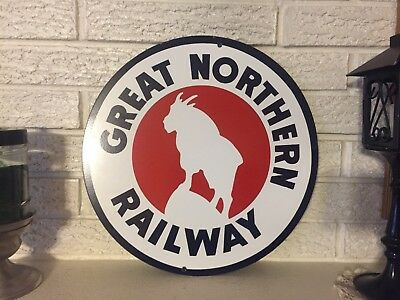 """Great  Northern Railway  Logo Heavy  Steel Sign Size 14""""  New DL"""
