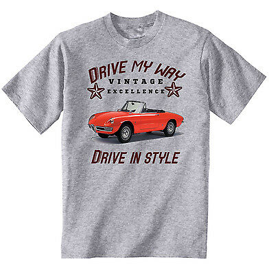 Alfa Romeo Spider Vintage Drive My Way - Cotton Grey Tshirt - All Sizes In Stock