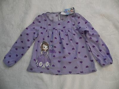 Princess Sofia Character Blouse Age 3-4 Lilac Purple Disney Bnwt