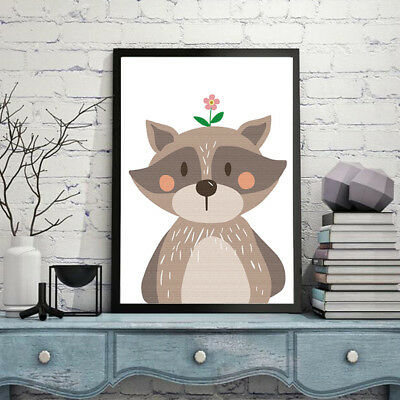 Raccoon animal HD Modern Home Wall Decor Abstract Canvas Print Oil Painting Z2S1