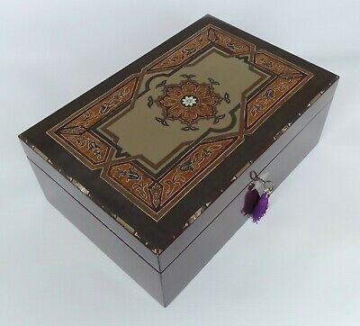 Heavily Inlaid Antique French Rosewood Jewellery Box with Tray & Key