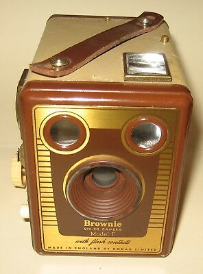 KODAK (LONDON) BOX BROWNIE SIX-20 MODEL 'F' TAN/BROWN with LEATHER CARRY CASE