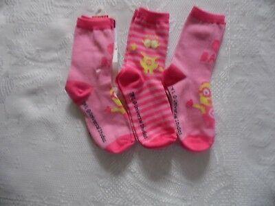 3 Pack Minion Girls Pink Crew Socks  C8-13 Despicable Me