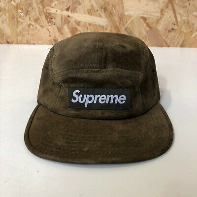 00e618db SUPREME NEW YORK Men's Olive Green Leather Box Logo Camp Cap Hat ...