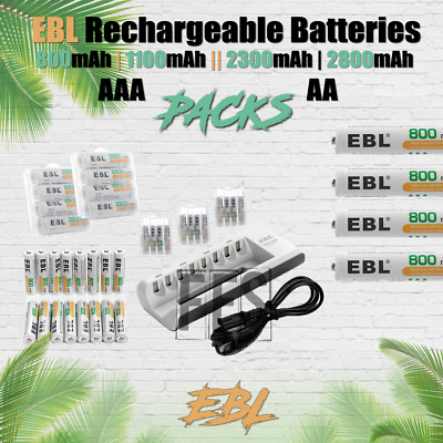 EBL Rechargeable Batteries AA/AAA 800mAh 1100mAh 2300mAh 2800 lot Ni-MH Pack NEW