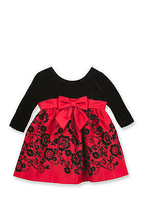 Rare Editions Baby Girl Red Satin Dress with Velvet Bodice Size 6-9 Mos NEW