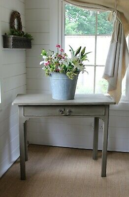 """Rustic Painted"" Primitive/Provincial Style Antique Console/Hall Table/""Nutmeg"""