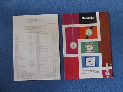 1962 Vintage Kienzle Clock Brochure & Price List