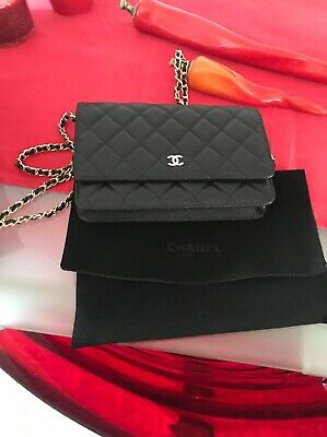 a3057ccff130 Authentic Chanel Wallet on Chain Black Caviar Gold Hardware in Excellent  Cond.