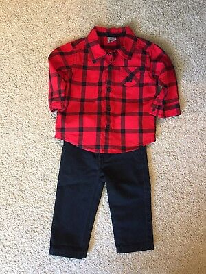 0405b3558 Carters boys Christmas Winter dress Outfit Size 6 Months. Red And Black  Plaid