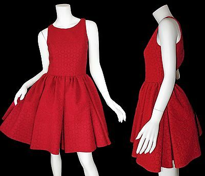 9d4940c5fa Alaia Red Metallic Embroidered Fitted Pleated Cocktail Dress Size 36   XS   6675