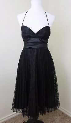 BETSEY JOHNSON Vintage Black Formal Sweetheart Neckline Lace Dress Size 4 S76