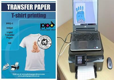 PPD Inkjet T Shirt Transfer Paper A4 for Light and White Fabric x 40 Sheets...
