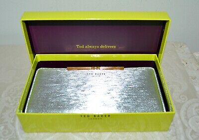 f2ee27b5c NWT  140 TED BAKER Yasmine Plisse Zip Leather Matinee Wallet SILVER Rose  Gold