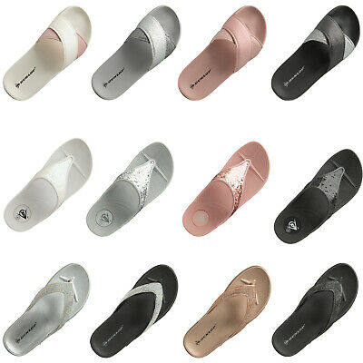 Womens Flip Flops Low Wedge Slippers Dunlop Ladies Sandal Summer Comfort Shoes