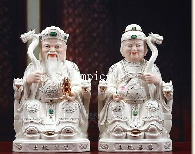 Pair 14'' Dehua white porcelain gold drawing folk myth Earth God Emperor Empress